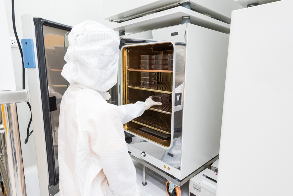 A scientist in sterile coverall gown placing cell culture flasks in the CO2 incubator. Doing biological research in clean environment. Cleanroom facility