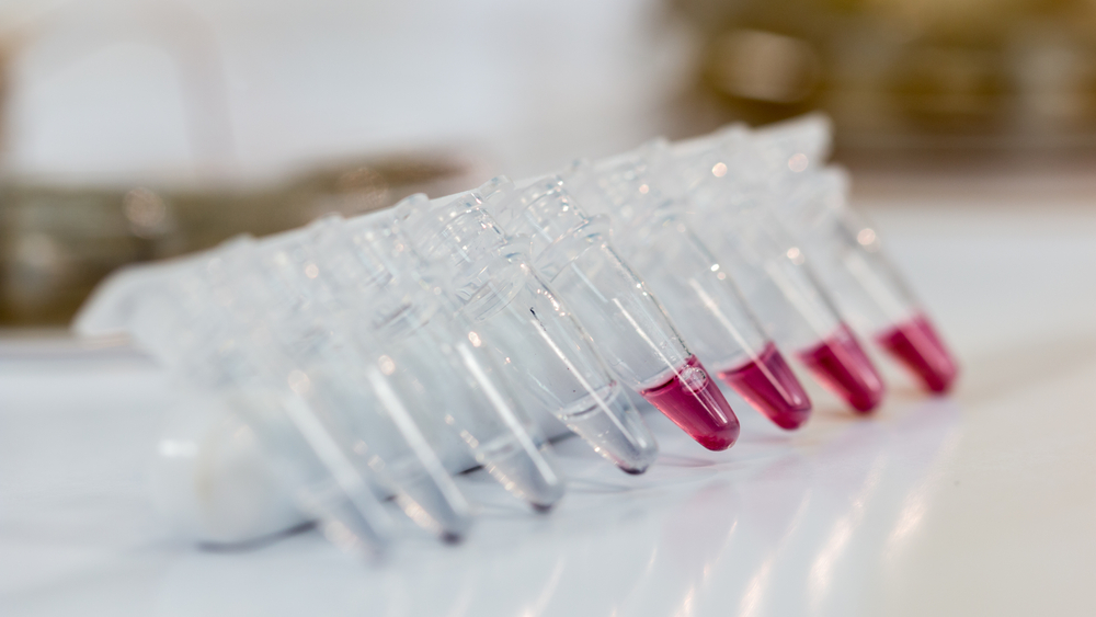 Microcentrifuge Tubes on lab bench with red substance